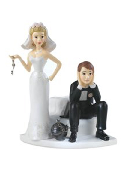 Ball and Chain Hopeless Bride and Groom Wedding Cake Tops