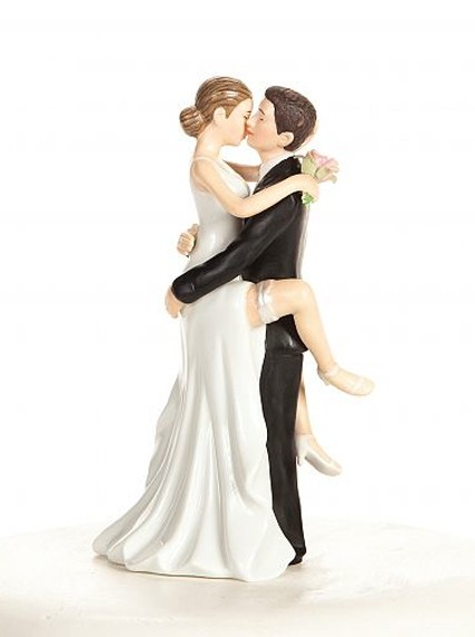 Passionate Kiss Bride and Groom Wedding Cake Top