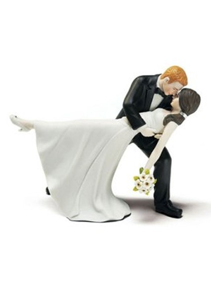 Romantic Dip Embrace Bride and Groom Wedding Cake Top