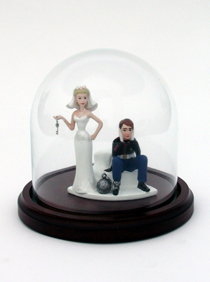 Glass Dome Wood Base to Protect Bride Groom Wedding Cake Topper