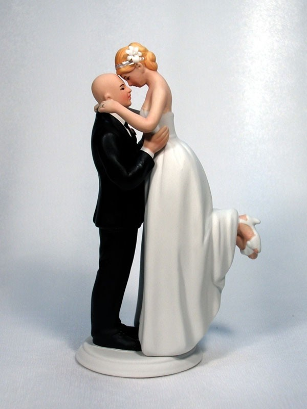 Perfect Match Traditional Bride Bald Groom Wedding Cake Top