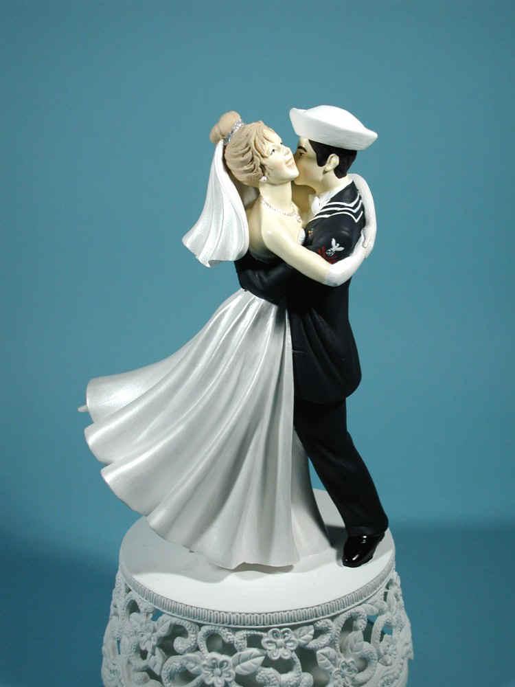 Navy Sailor Wedding Cake Topper