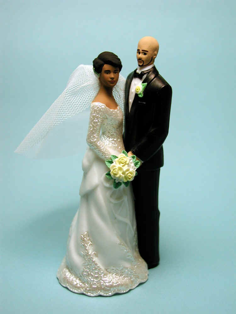 bald groom and bride wedding cake topper examples of flesh skin tone changes wedding cake toppers 11050
