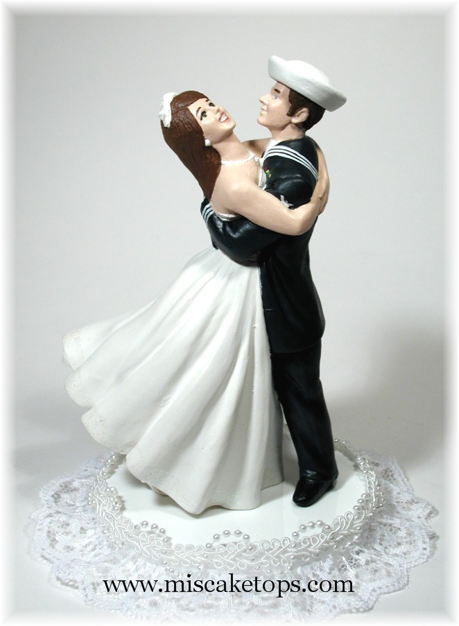 sailor and nurse wedding cake topper joyful embrace examples of personalized cake tops 19619